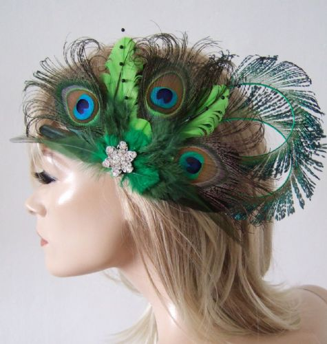 Bridal Curled Peacock Feathers Lime Olive Emerald Green Hair Headpiece Clip Fascinator MNB118